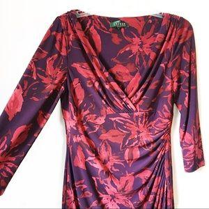 Ralph Lauren • Floral Wrap Ruched Detail Dress